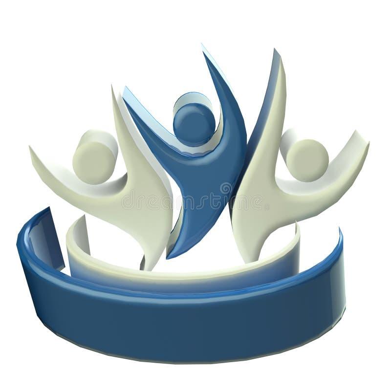 Travail d'équipe heureux bleu 3D de logo illustration stock
