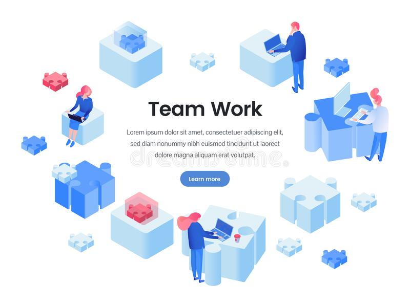 Travail d'équipe, page de débarquement isométrique de renforcement d'équipe illustration libre de droits