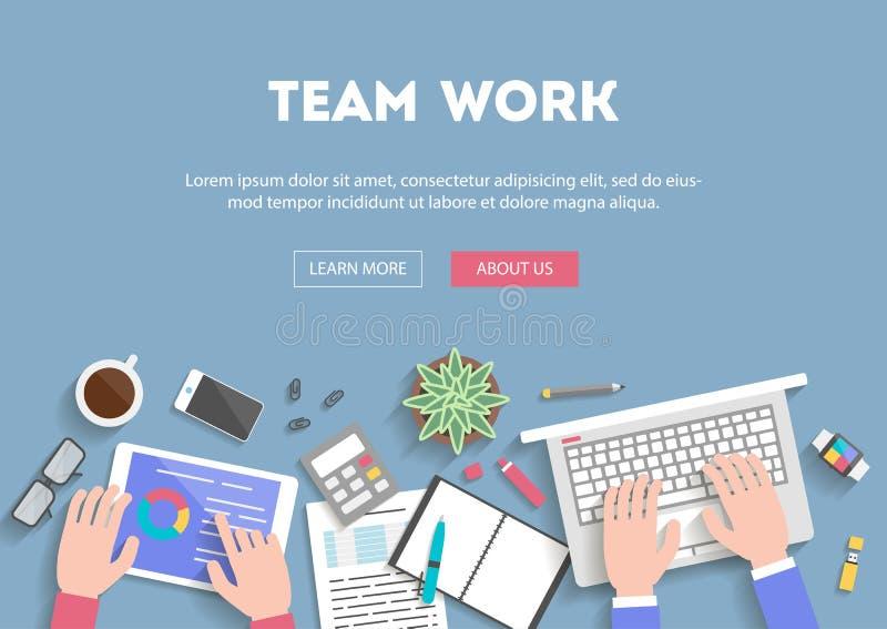 Travail d'équipe plat de conception de bannière de concept illustration stock