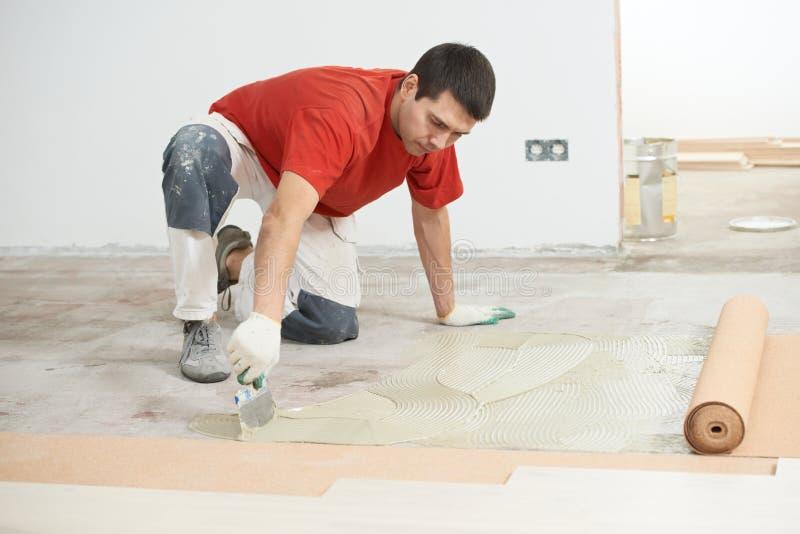 Travail d'étage de parquet avec image libre de droits