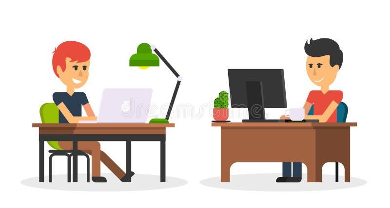 Travail d'homme avec la conception d'ordinateur plate illustration stock