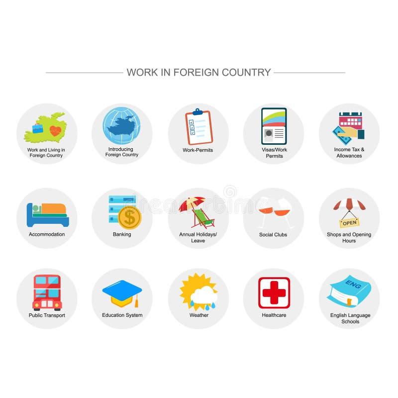 Travail dans l'ensemble d'icône de pays étranger illustration de vecteur
