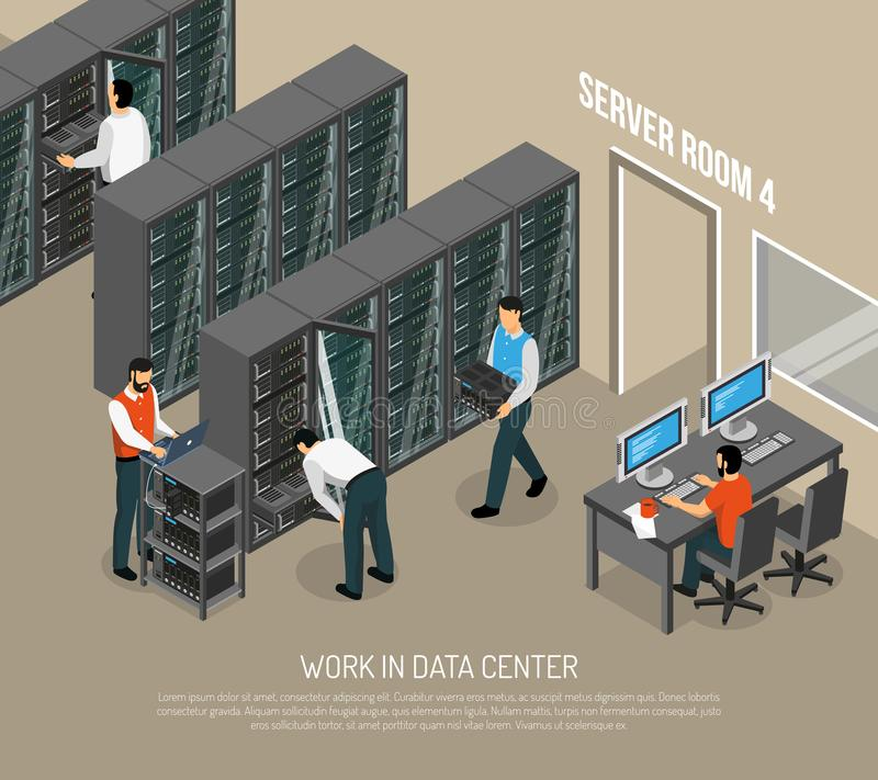 Travail dans l'illustration isométrique de vecteur de centre de traitement des données illustration de vecteur