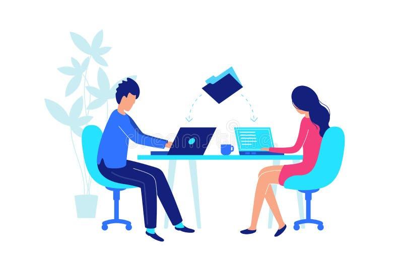 Travail de collègues sur le lieu de travail avec l'ordinateur portable plat illustration stock