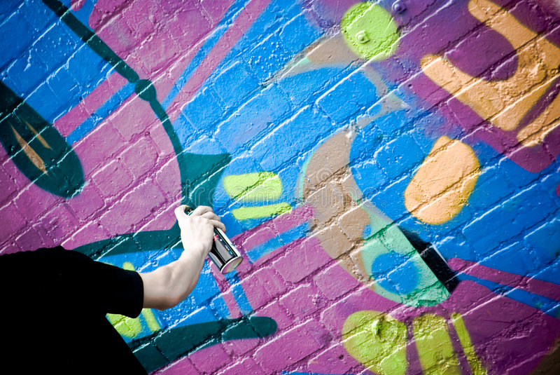 travail de graffiti d'artiste photo stock