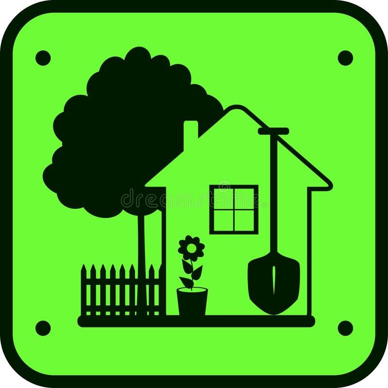 Travail de jardin de signe avec l'arbre, la maison et les outils illustration stock