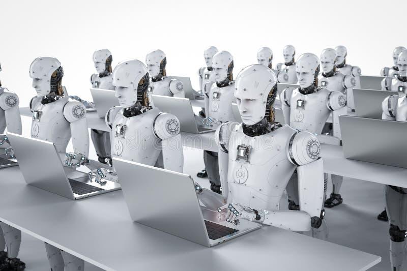Travail de robots sur l'ordinateur portable illustration stock