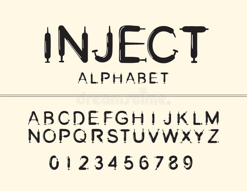 Travail de vecteur de police audacieuse Inject Alphabet et nombres majuscules photo libre de droits