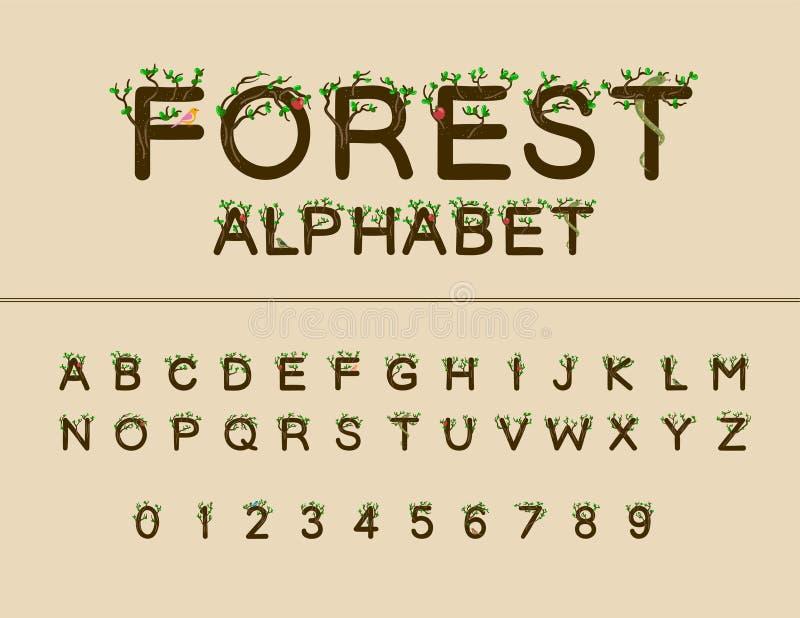 Travail de vecteur de police de forêt Alphabet et nombres majuscules photo libre de droits