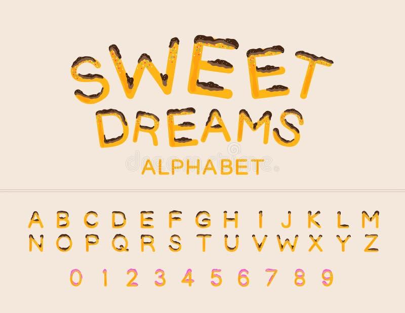 Travail de vecteur de police de rêves doux Alphabet et nombres majuscules image stock