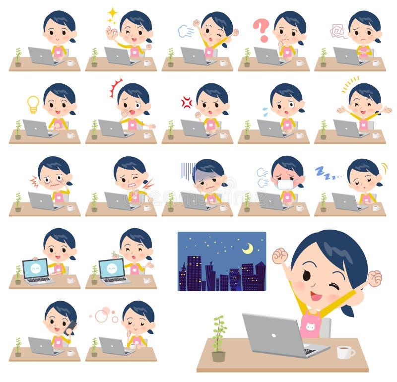 Travail de women_desk de gardienne d'enfants illustration stock