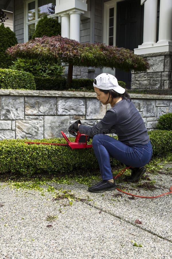 Travail de yard à la maison images libres de droits