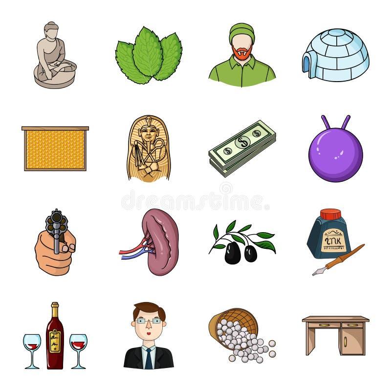 Travail du bois, valeur, sport et toute autre icône de Web dans le style de bande dessinée Art, restaurant, golf, icônes de meubl illustration libre de droits