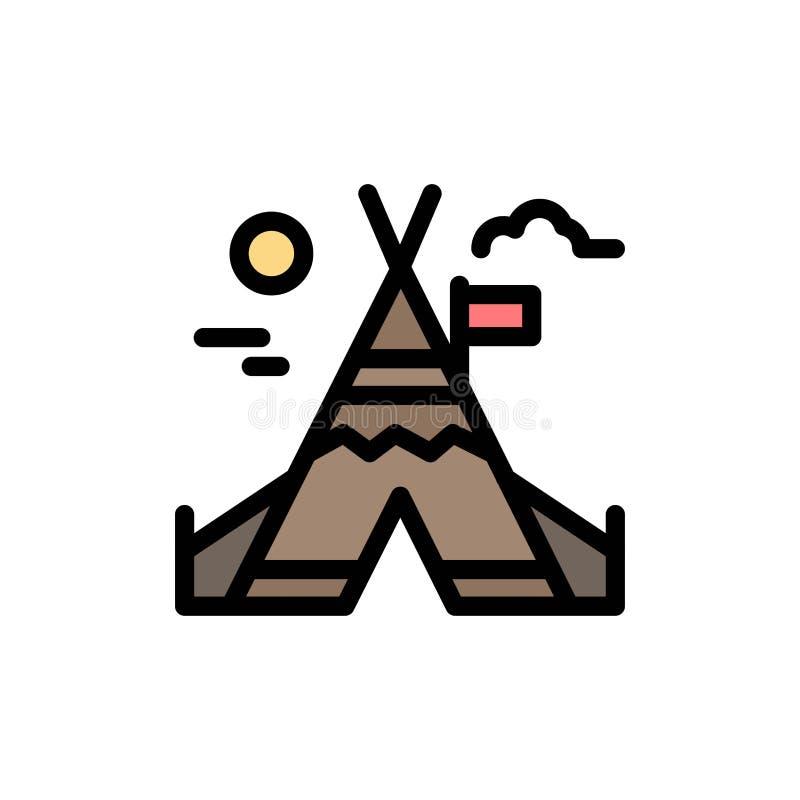 Travail du feu, camp, icône plate de couleur du Canada Calibre de bannière d'icône de vecteur illustration de vecteur