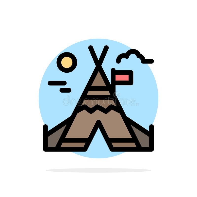 Travail du feu, camp, icône plate de couleur de fond abstrait de cercle du Canada illustration libre de droits