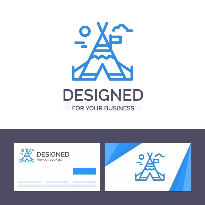 Travail du feu de visite de calibre créatif de carte de visite professionnelle et de logo, camp, illustration de vecteur du Canad illustration de vecteur