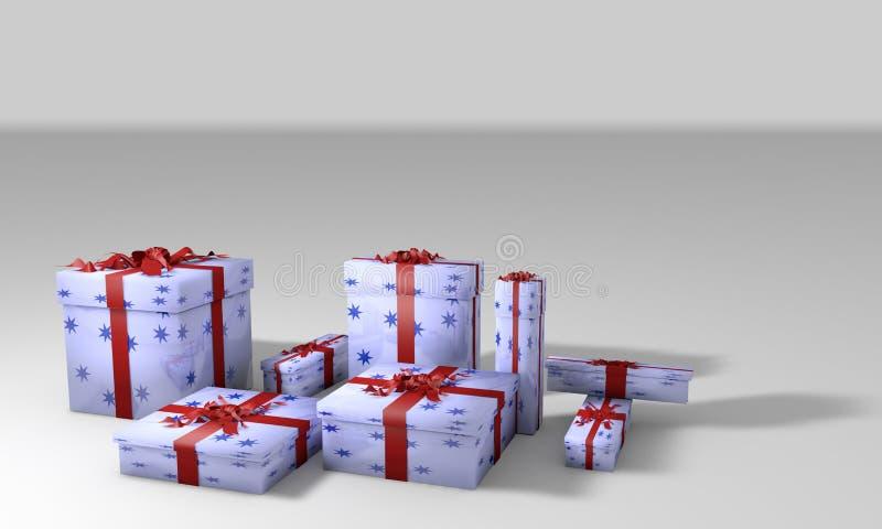 Travail du fond 3d de paquets de cadeau illustration de vecteur