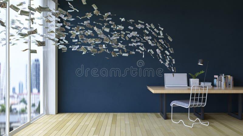 Travail en ligne sur l'ordinateur portable gagnant l'argent de revenu illustration stock