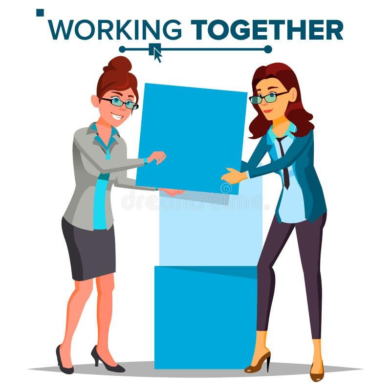 Travail ensemble du vecteur de concept Femme d'affaires - 2 Travail de bureau environnement Gens d'affaires Bande dessinée d'isol illustration libre de droits