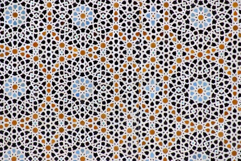 Travail géométrique de tuile de Moroccon à Fez, Maroc photos stock