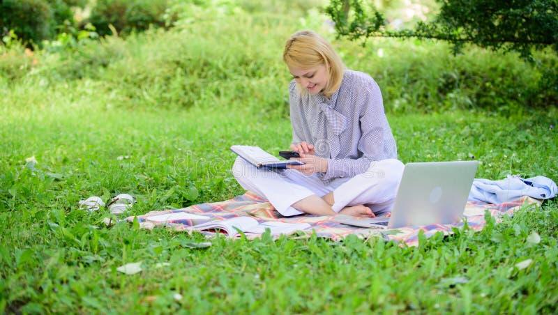 Travail indépendant de dame d'affaires dehors Indépendant réussi devenu La femme avec l'ordinateur portable s'asseyent sur le pré image stock