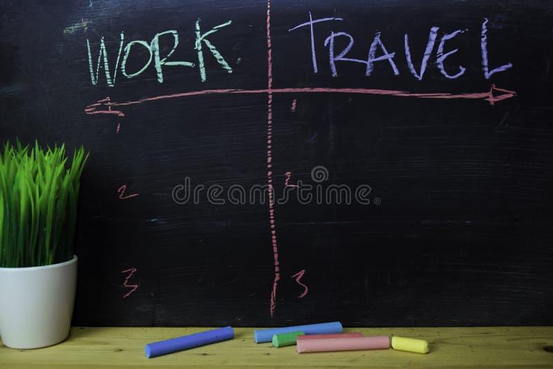 Travail ou voyage écrit avec le concept de craie de couleur sur le tableau noir image stock