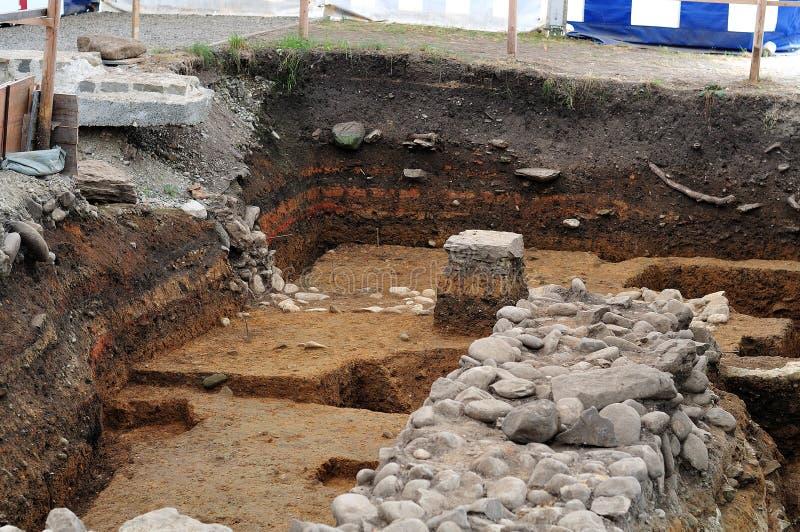 Travail public d'excavation des ruines romaines photo libre de droits