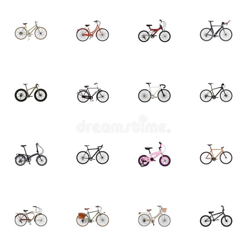 Travail réaliste, Bmx, véhicule s'exerçant et d'autres éléments de vecteur L'ensemble de symboles réalistes inclut également Cycl photographie stock libre de droits