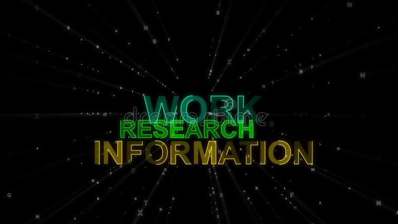 Travail, recherche, l'information comme mots de concept illustration de vecteur