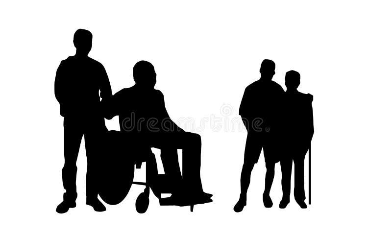 Travail social pour aider la silhouette de gens illustration libre de droits