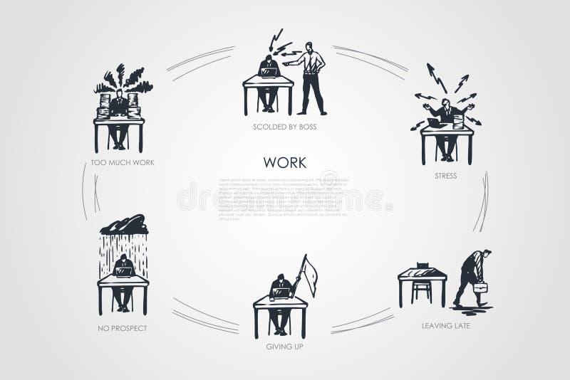 Travail - trop de travail, aucun respect, abandonner, laissant en retard, effort, a grondé par l'ensemble de concept de patron illustration libre de droits
