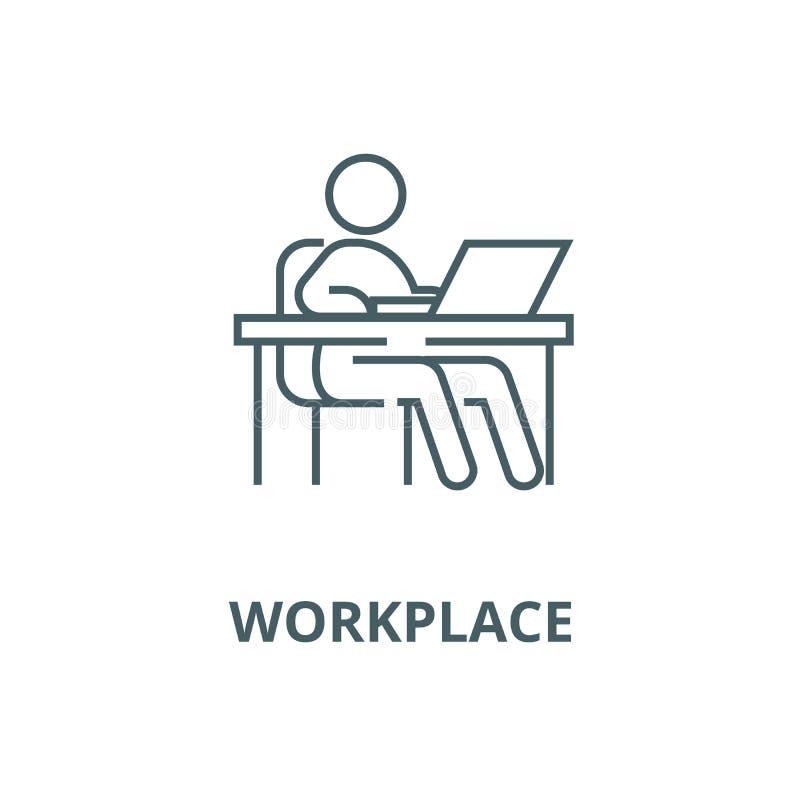 Travaillant à la table, lieu de travail, ligne icône, concept linéaire, signe d'ensemble, symbole de vecteur de gestion illustration de vecteur