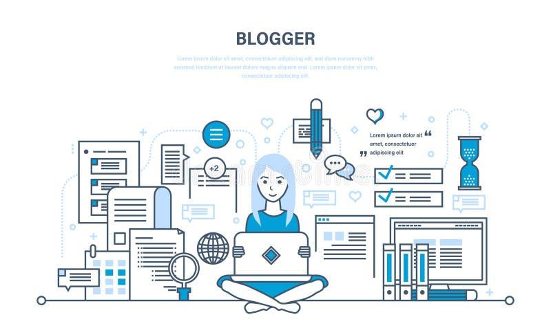 Travaillant avec des technologies, contenu, utilisateurs, page Web avec les matériaux utiles illustration de vecteur