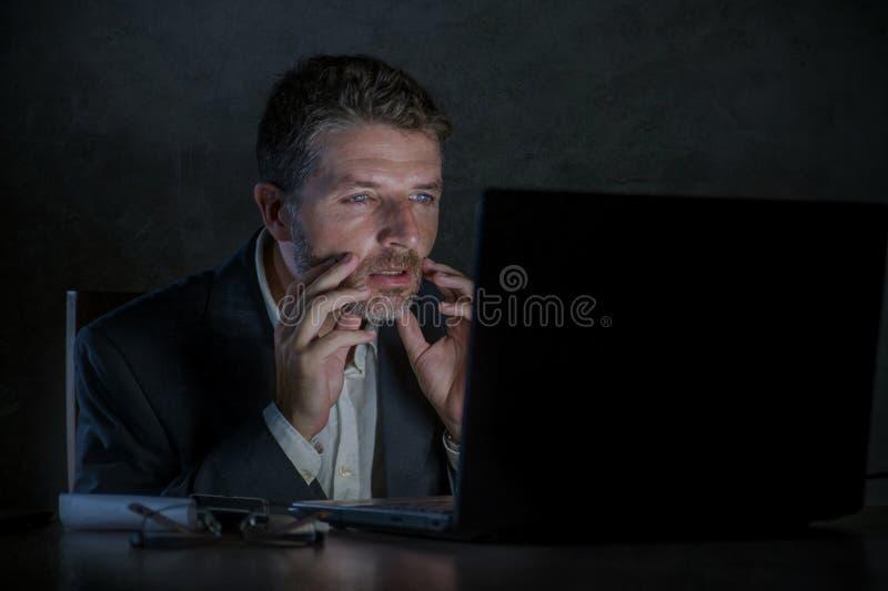 Travailler étonné d'homme d'entrepreneur de bourreau de travail de fin de nuit utilisant l'ordinateur portable dans le choc et la photos stock