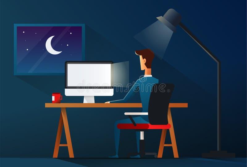 Travailler d'homme d'affaires de fin de nuit concept de charge de travail - illustration de vecteur illustration libre de droits