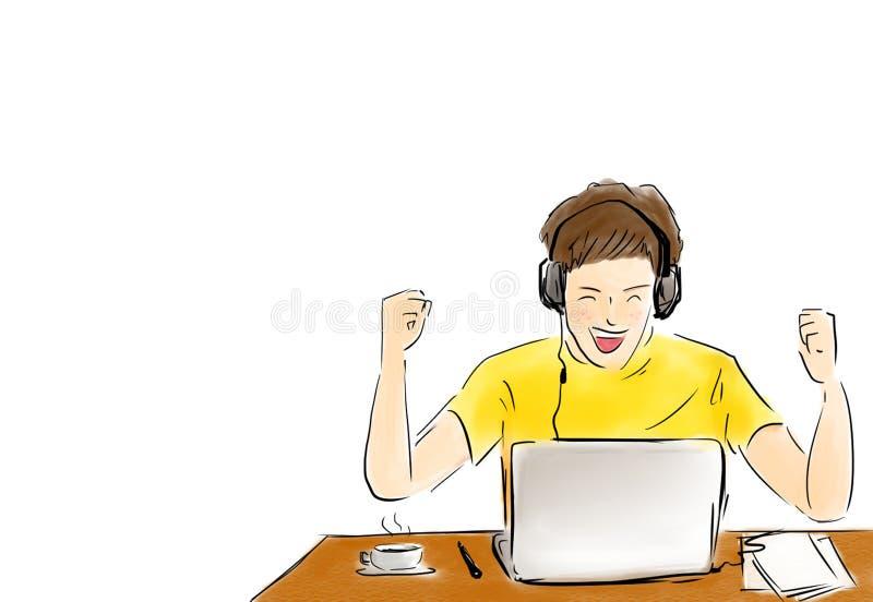 Travailler d'homme réussi avec l'ordinateur portable sur le bureau illustration de vecteur