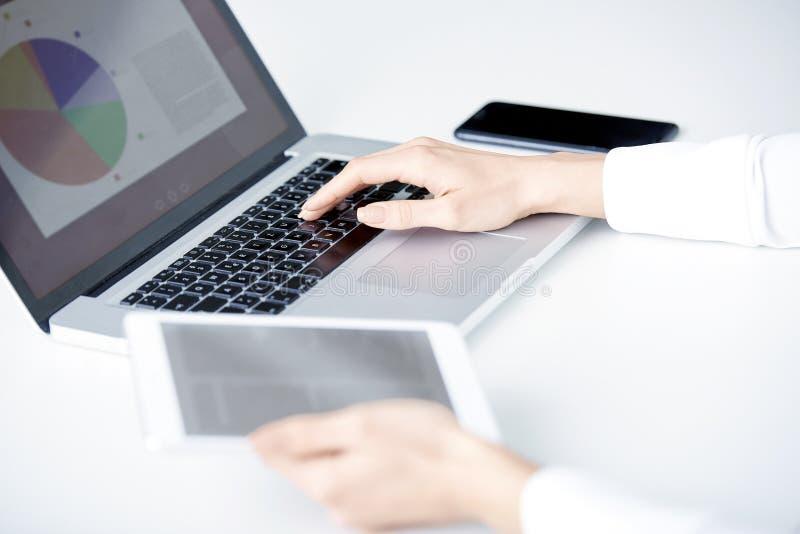 Travailler sur le comprimé numérique et l'ordinateur portable photographie stock libre de droits