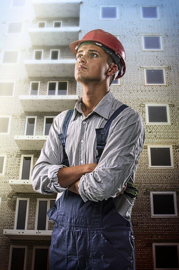 Travailleur à un chantier de construction images stock