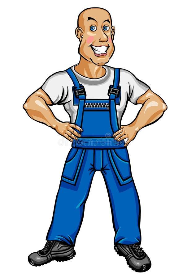 Travailleur amical dans des combinaisons bleues illustration stock