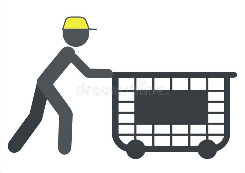 Travailleur avec un chariot illustration stock