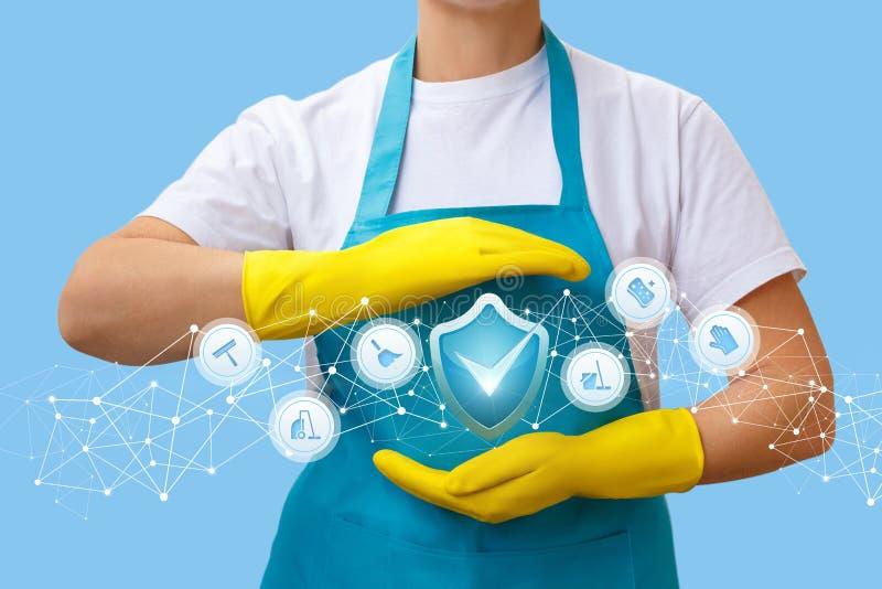 Travailleur avec un geste de ses mains pour protéger la qualité du travail photo stock