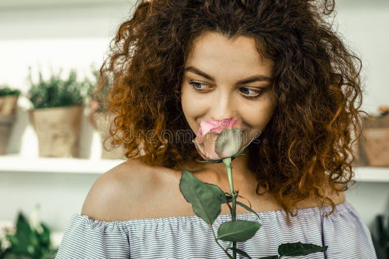 Travailleur bouclé de charme du sentiment de flowershop excité faisant le nouvel ikebana photographie stock libre de droits