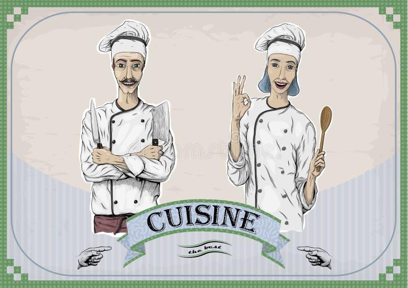 Travailleur caucasien de chef de femme et de cuisinier d'hommes, chapeau de veste du ` s de chef avec illustration stock