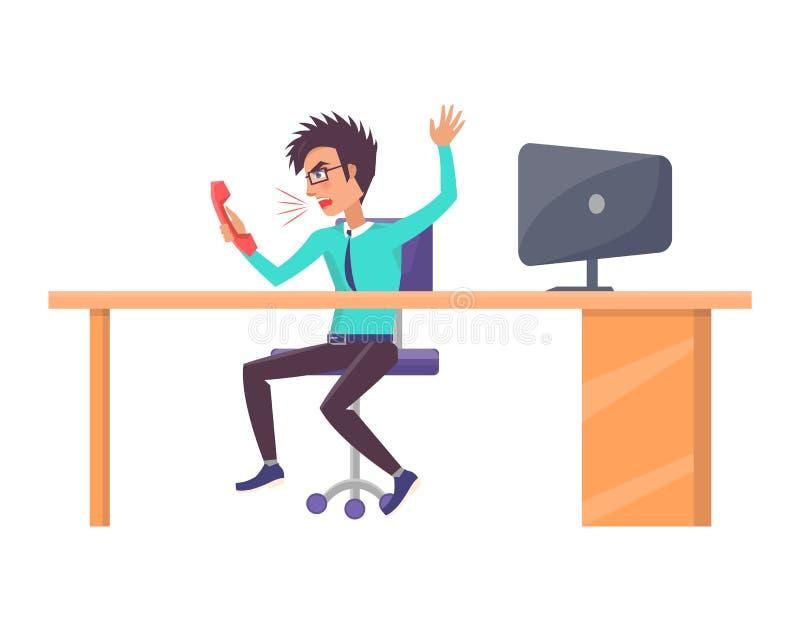 Travailleur criant dans le téléphone, illustration de vecteur illustration stock