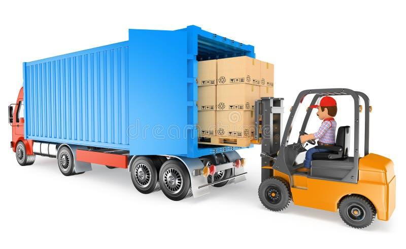 travailleur 3D conduisant un chariot élévateur chargeant un camion de récipient illustration libre de droits