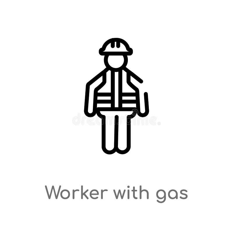travailleur d'ensemble avec l'icône de vecteur de masque de gaz ligne simple noire d'isolement illustration d'élément de concept  illustration stock