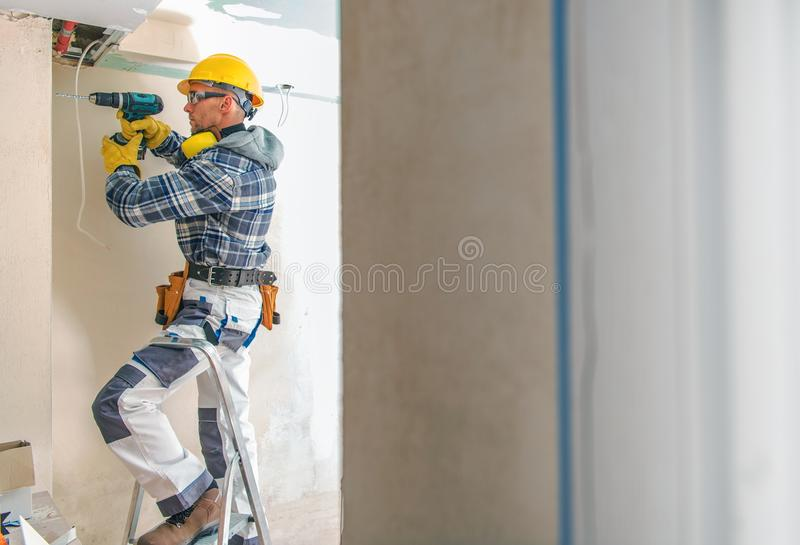 Travailleur d'entrepreneur de construction photos libres de droits