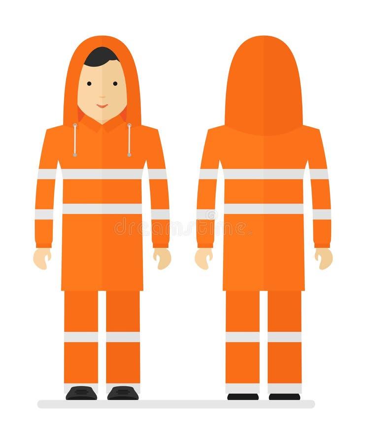 Travailleur dans l'imperméable orange protecteur avec la bande réfléchie illustration libre de droits