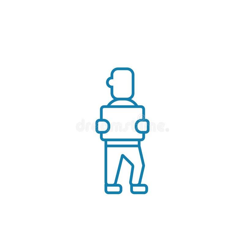 Travailleur dans le concept linéaire d'icône d'entrepôt Travailleur dans la ligne signe de vecteur, symbole, illustration d'entre illustration de vecteur