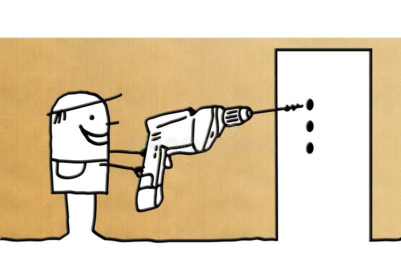 Travailleur de bande dessinée avec le foret électrique illustration libre de droits